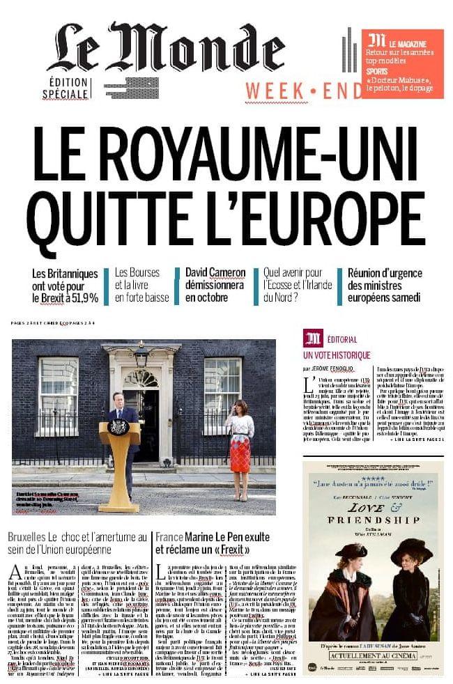 Le Monde newspaper front page, 24 June 2016